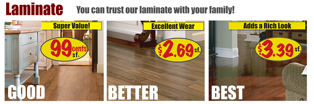 Laminate Starting at 99¢ sq.ft.