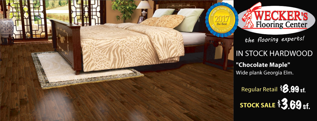 Chocolate Maple wide plank in-stock hardwood on sale $3.69