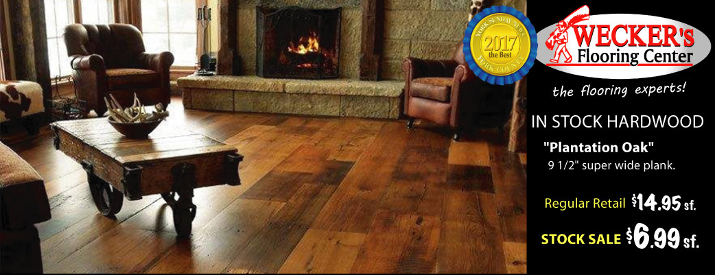 "Plantation Oak hardwood, 9 1/2"" super wide plank on sale now $6.99 sq.ft. at Wecker's Flooring Center in York."